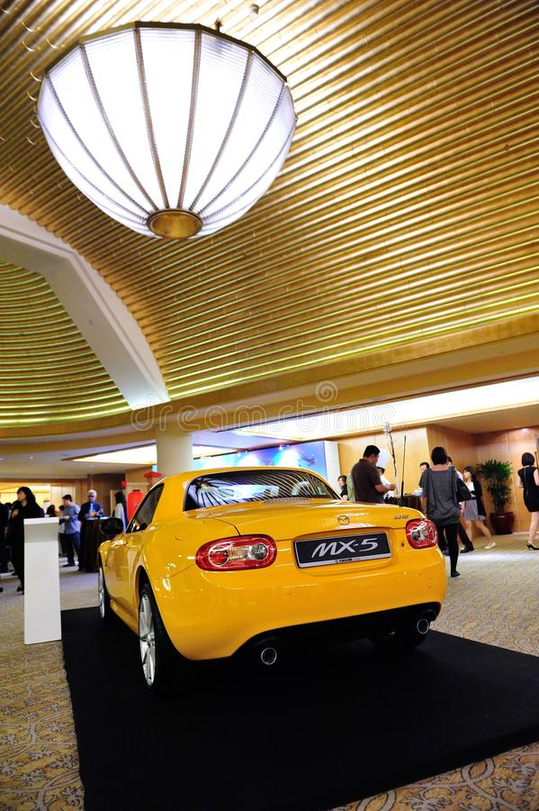 Mazda MX-5 roadster on display. At the launch of Mazda CX-5 crossover SUV in Singapore on 13 Apr 2012 stock photos