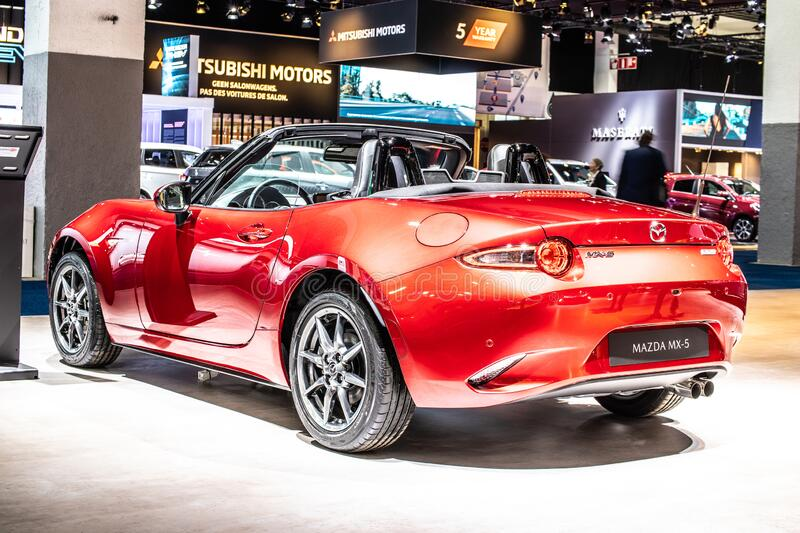 Mazda MX-5, Brussels Motor Show, 4th gen, ND2, lightweight two-passenger roadster manufactured by Mazda. Brussels, Belgium, Jan 09, 2020: Mazda MX-5 at Brussels royalty free stock photography