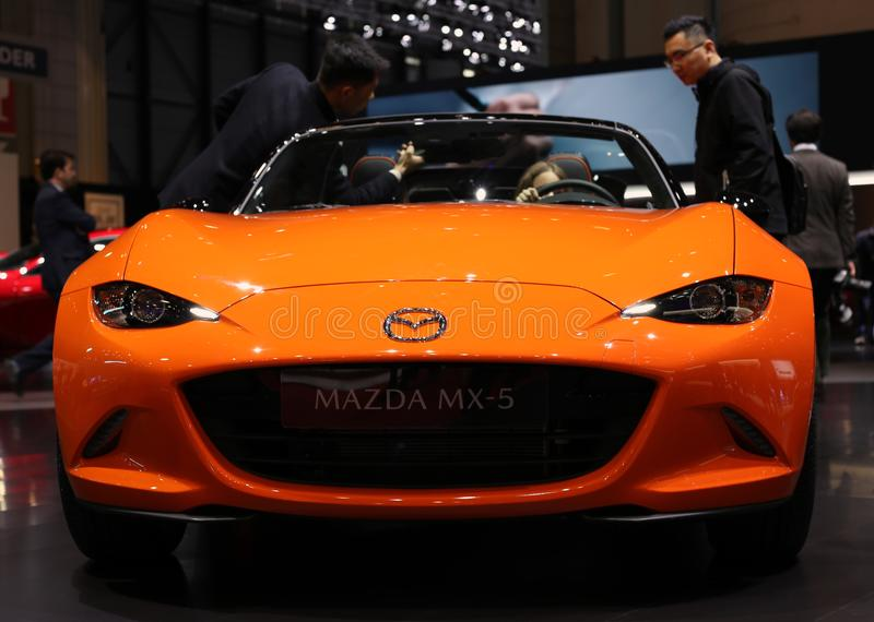 Mazda 30th Anniversary Orange MX5 / Miata in Geneva International Motor Show GIMS March 2019 stock photos