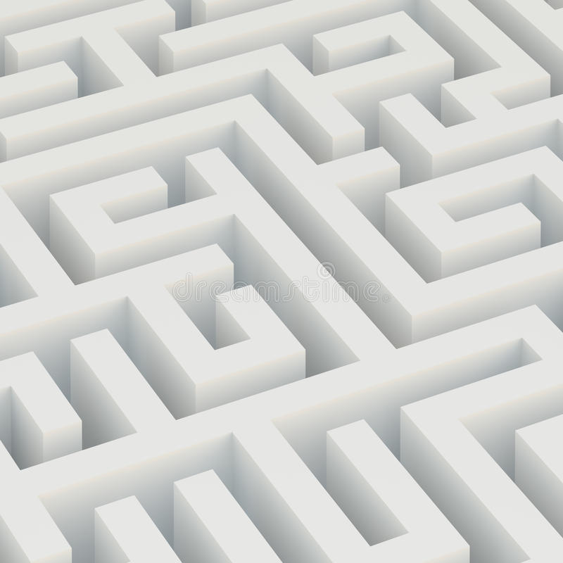 Maze. 3d Illustration of White Maze Background vector illustration