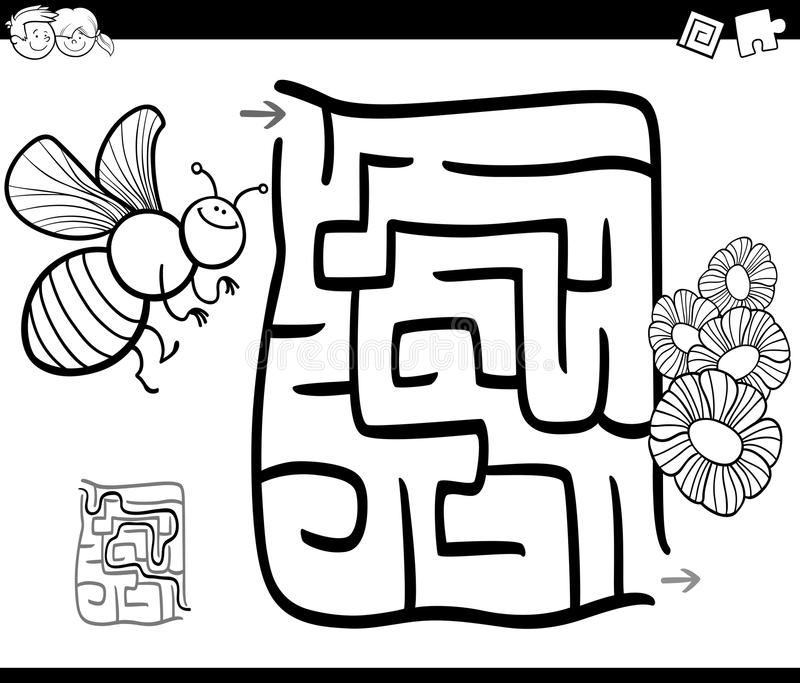 Download Maze With Bee Coloring Page Stock Vector