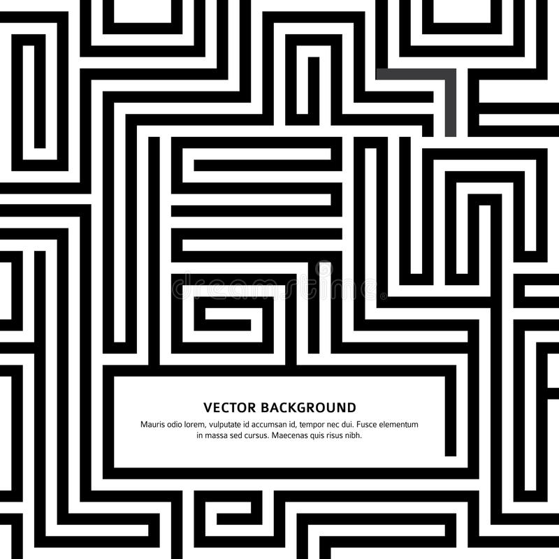 Maze-black-white-background-your-message stock illustration