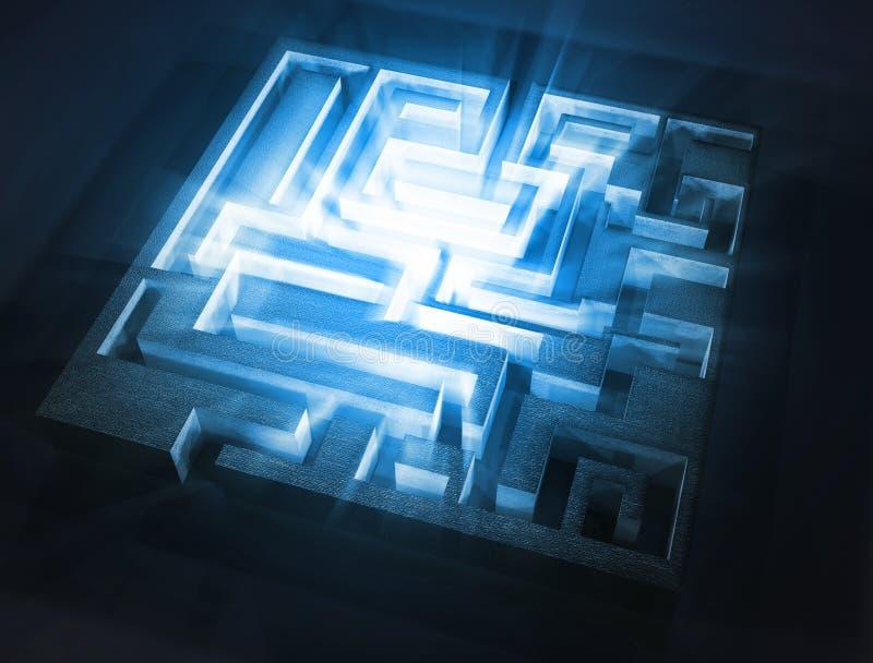 Maze with blue light aura inside. 3d image stock illustration