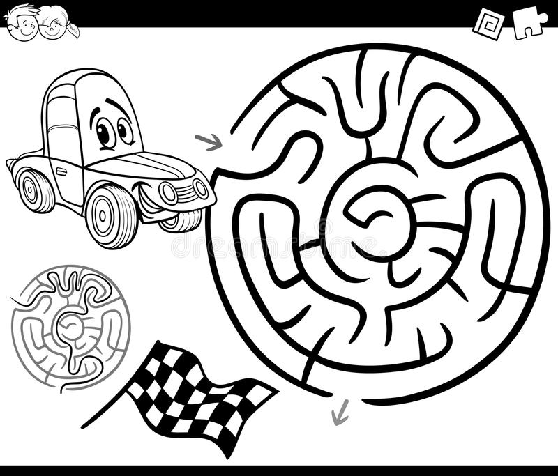 maze car coloring page black white cartoon illustration education labyrinth game children racing