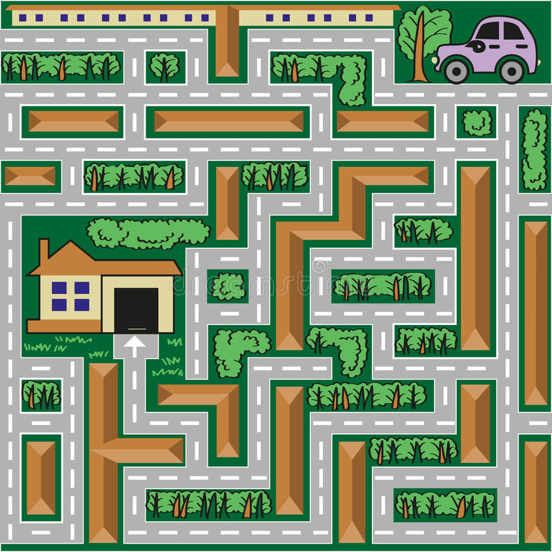 Maze car goes home stock illustration
