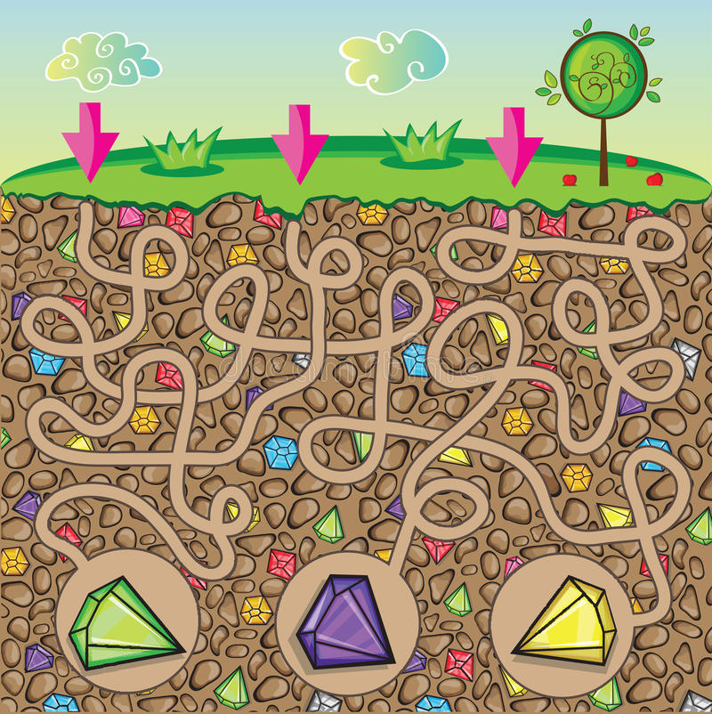 Maze for children - nature, stones and precious stones under the ground stock image