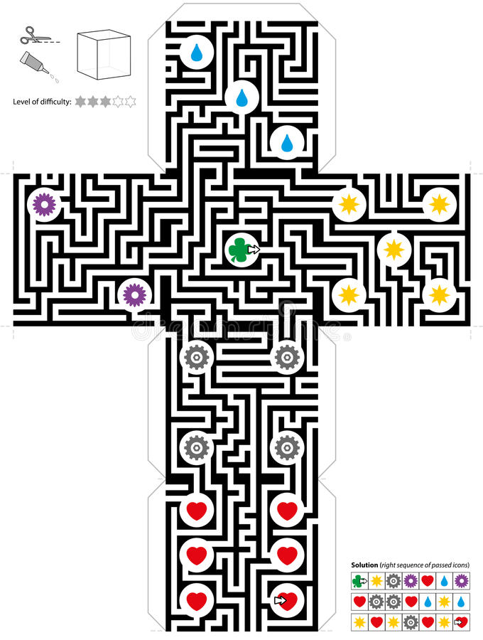 Maze Cube Template stock illustrationer