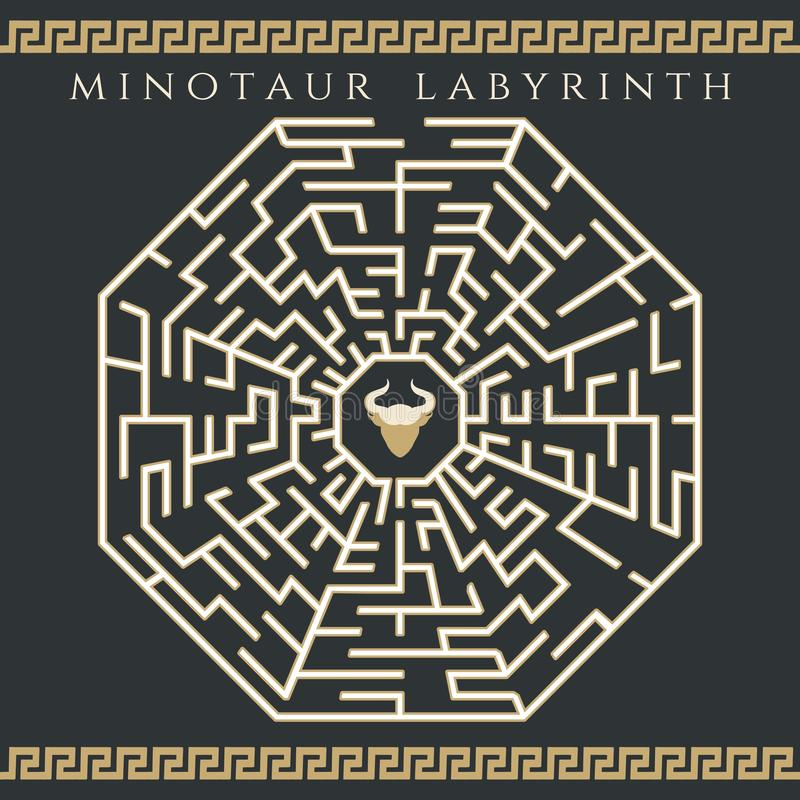 Maze enigma with minotaur icon vector illustration