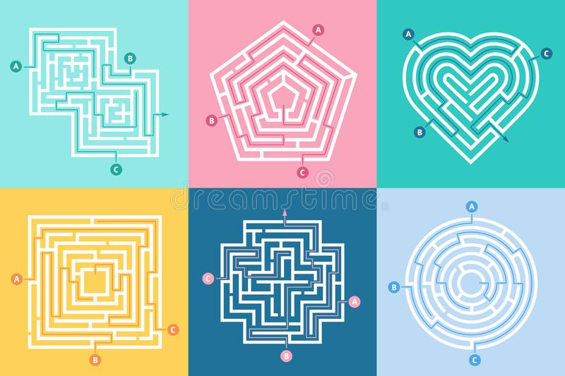 Maze entrance. Find right way, kids labyrinth game and choice mazes entrances letters vector illustration set stock illustration
