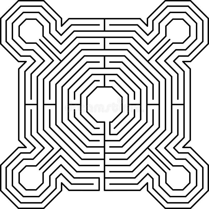Maze fortress white. Maze fortress labyrinth graphic problem stock illustration
