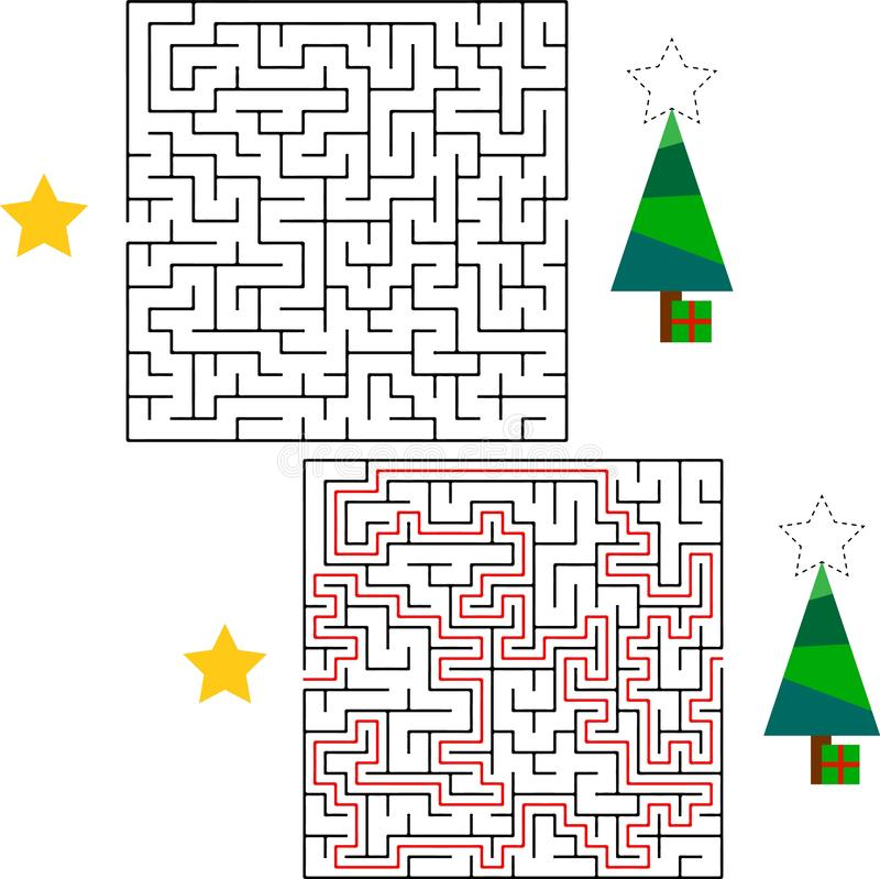 Maze game or activity page for kids Help Santa to find the way to his sack with gifts for children. vector illustration