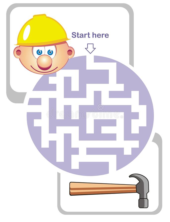 Maze game: builder and hammer stock photo