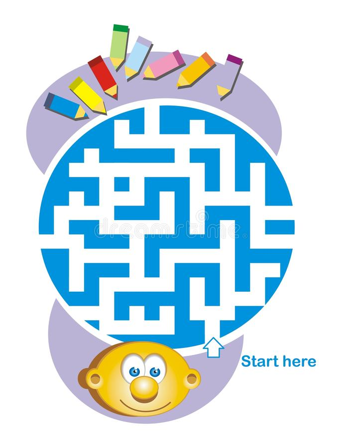 Maze Game: Child And Pencils Royalty Free Stock Photo