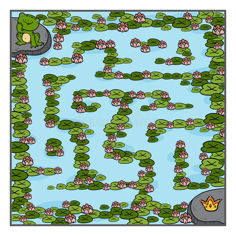 Maze game for children, Frog and crown royalty free illustration