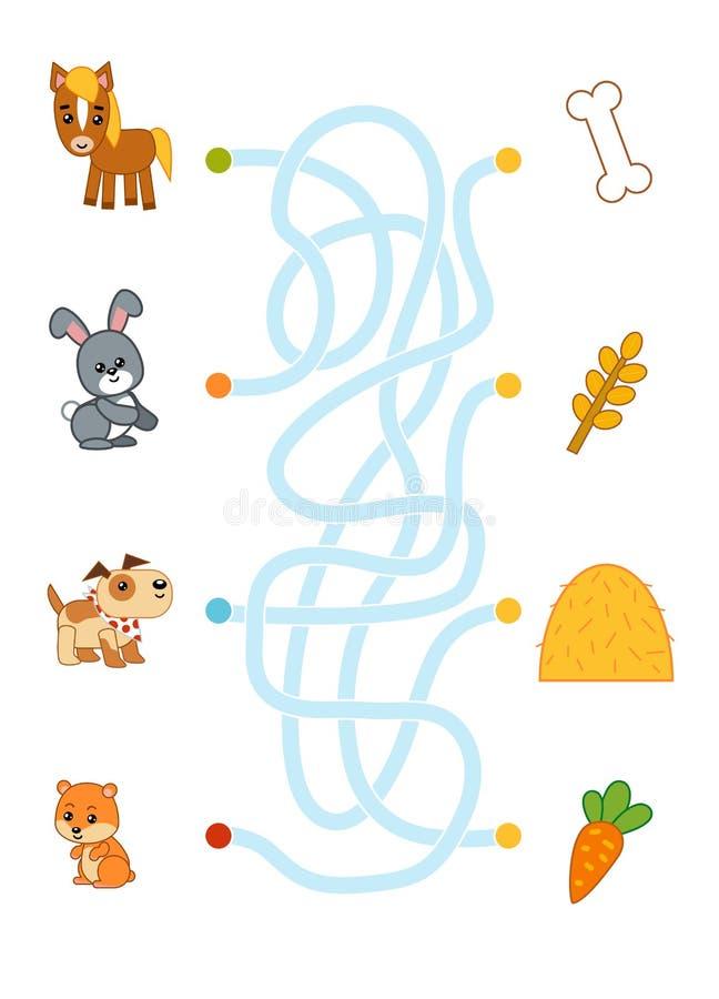 Maze game for children, Horse, rabbit, dog, hamster and food. Maze game for children, education worksheet. Horse, rabbit, dog, hamster and food royalty free illustration