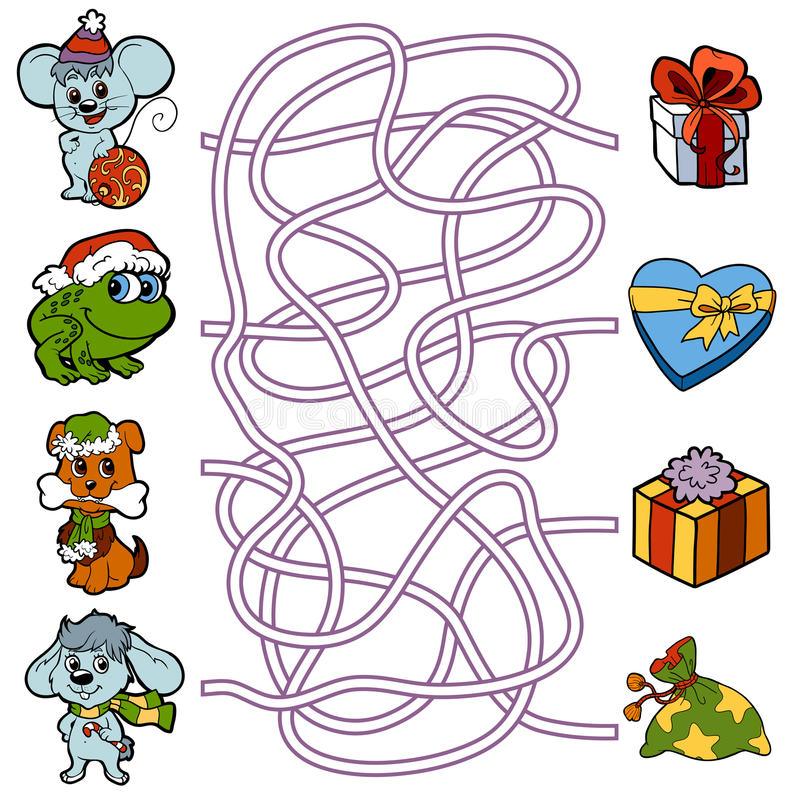 Maze game for children: little animals and Christmas gifts. Maze education game for children: little animals and Christmas gifts vector illustration