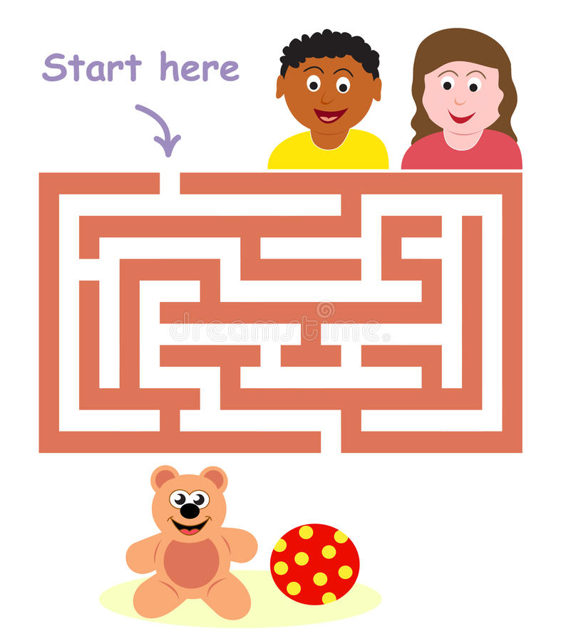 Maze game: children & toys stock photo