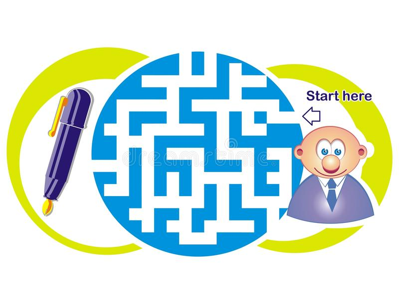 Maze Game: Clerk And Pen Stock Photo