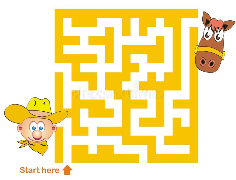 Download Maze Game: Cowboy And Horse Stock Vector - Image: 24301923