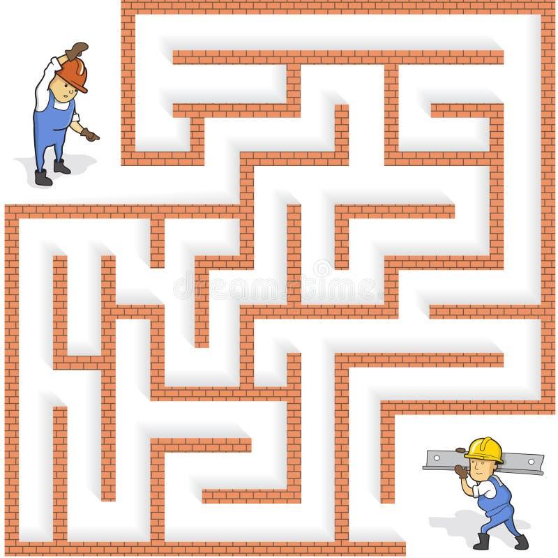 Maze Game drôle : Aidez le travailleur de bande dessinée à trouver la manière illustration de vecteur