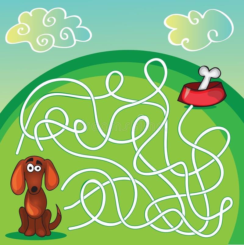 Maze Game du chien mignon illustration de vecteur
