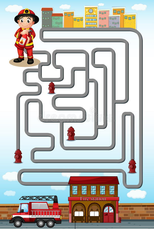 Maze game with fire fighter and station vector illustration