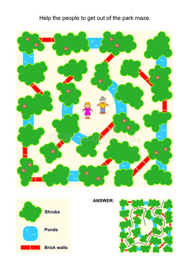 Free Maze Game For Kids With People In The Park Royalty Free Stock Image - 55218066