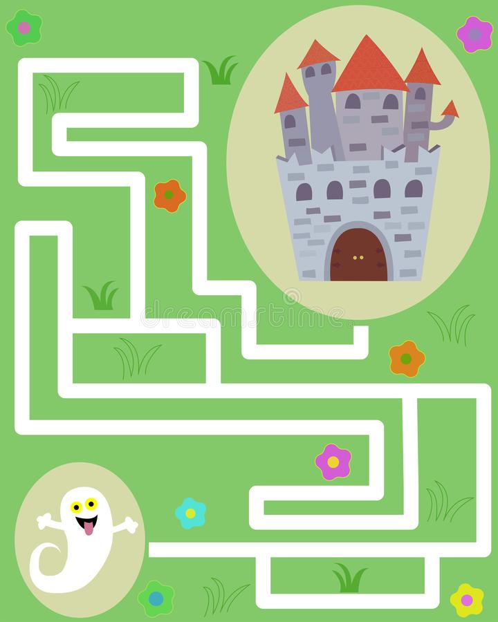 Maze game with ghost and castle stock photography