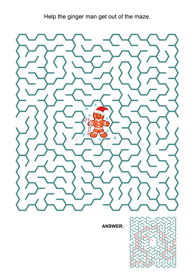 Maze game with ginger man stock illustration