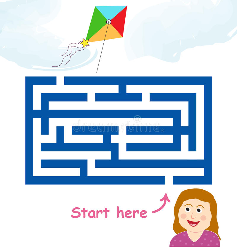 Maze game: girl & flying kite royalty free stock photography