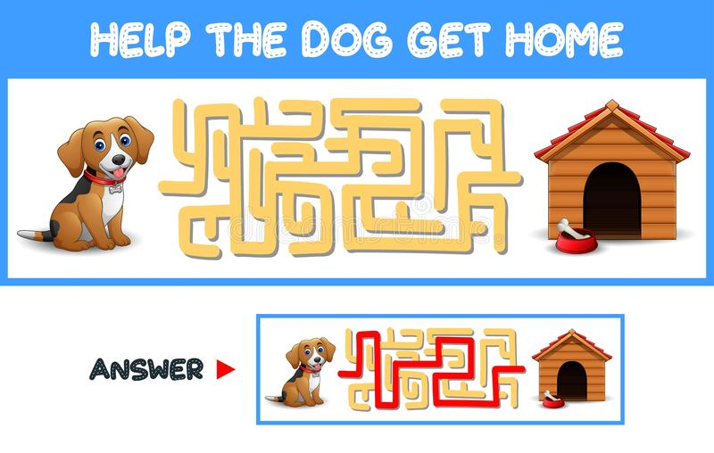 Maze Game: Help The Dog Get Home Stock Vector - Illustration of