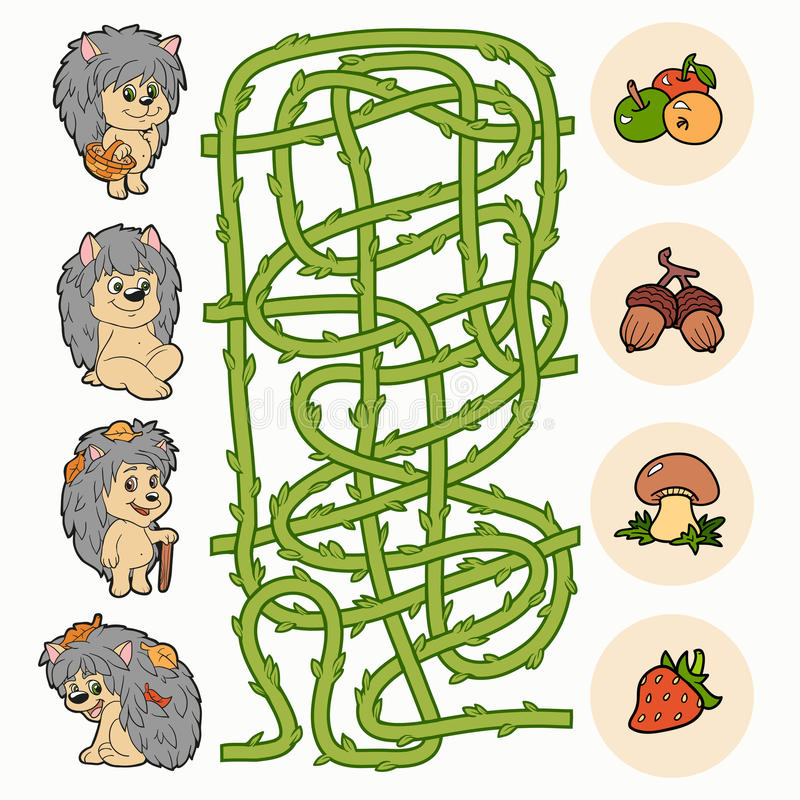 Maze game: Help hedgehogs to find food stock illustration