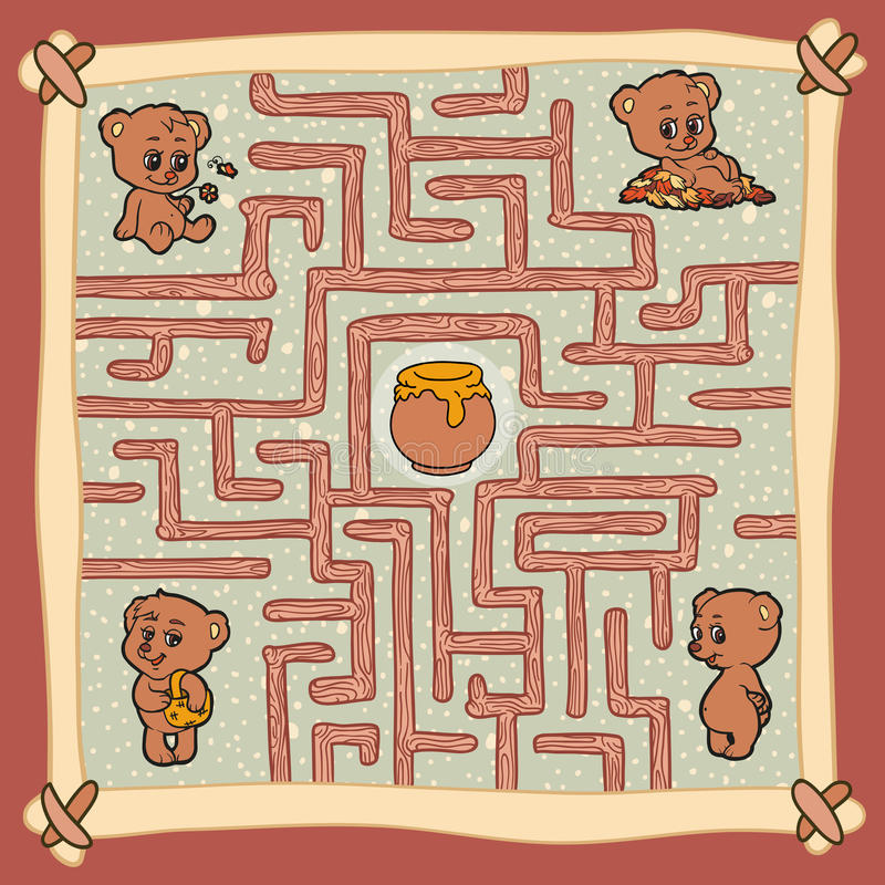 Maze game: Help one of the bears to find a way to honey vector illustration