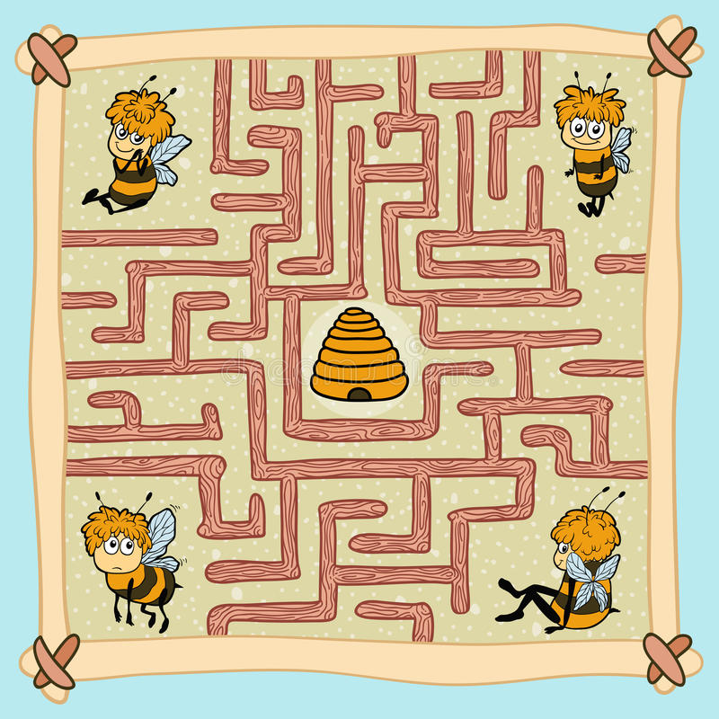 Maze game: Help one of the bees find their way home royalty free illustration