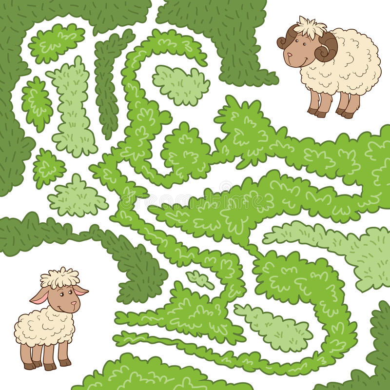 Maze game: Help the sheep to find the little lamb stock illustration