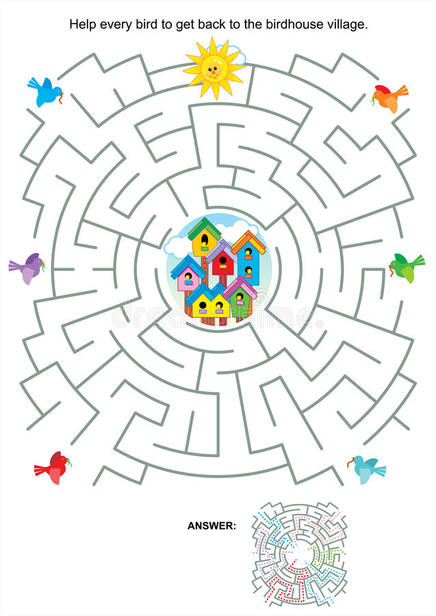 Maze game for kids - birds and birdhouses royalty free illustration