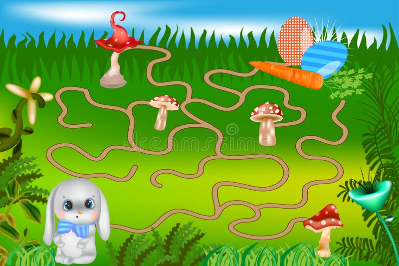 Maze game for kids with bunny and painted eggs. stock illustration