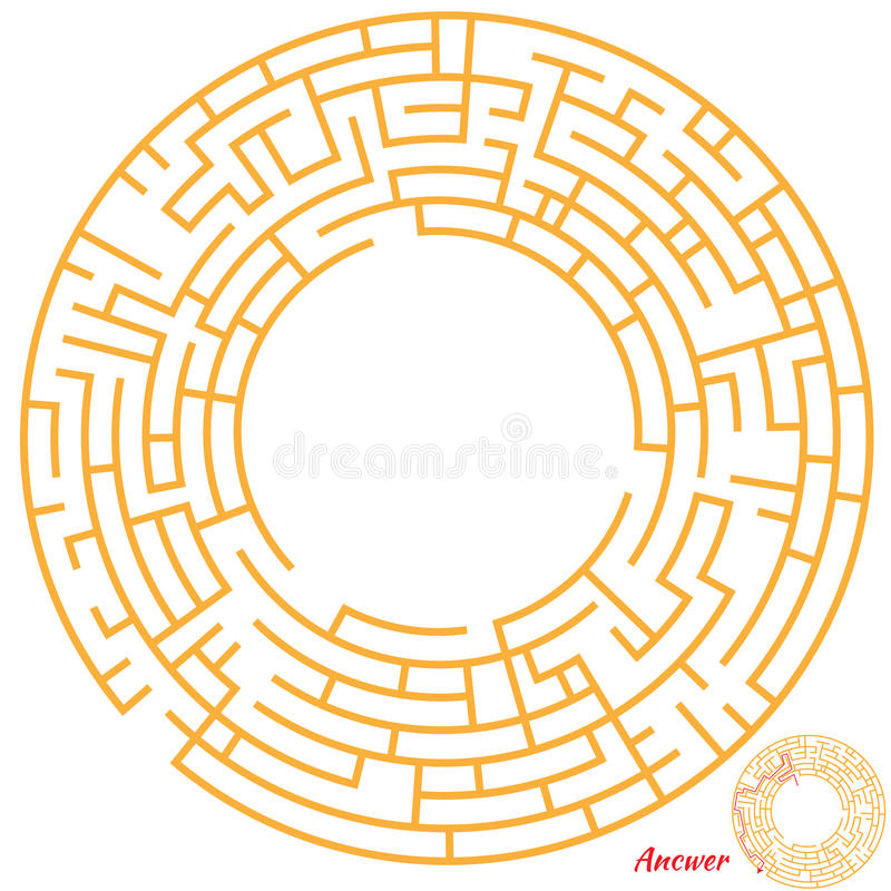 Maze Game for kids. Funny Maze Game for kids. Maze or Labyrinth Game for Preschool Children. Maze puzzle with solution vector illustration