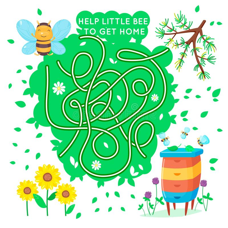 Maze game for kids. Help the little bee to get home. Cartoon vector cute puzzle royalty free illustration