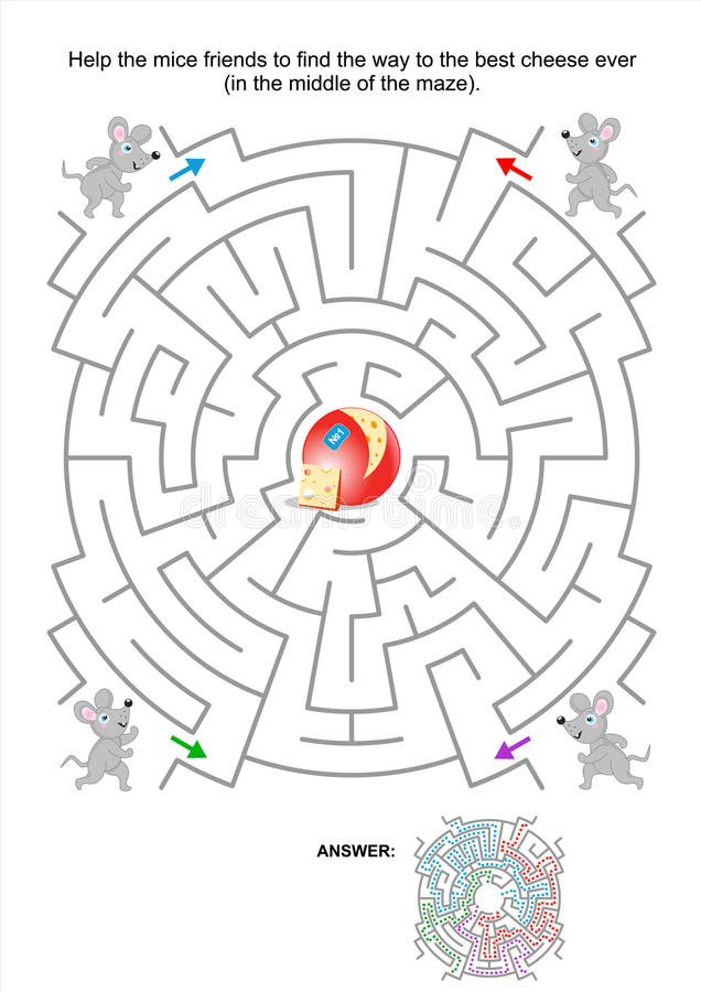 Maze game for kids with mice and cheese. Maze game for kids: Help the mice friends to find the way to the best cheese ever. Answer included royalty free illustration