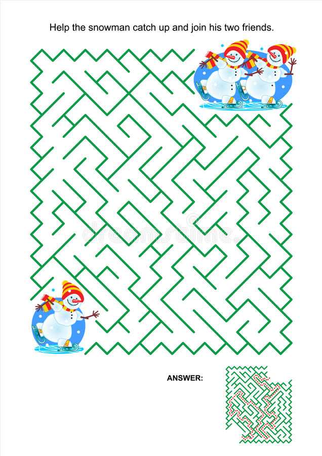 Maze game for kids - playful skating snowmen. Maze game or activity page for kids: Help the snowman catch up and join his two friends. Answer included stock illustration