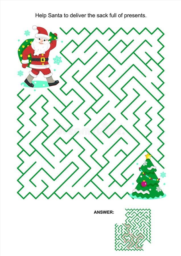 Maze game for kids - Santa deliver the presents royalty free illustration