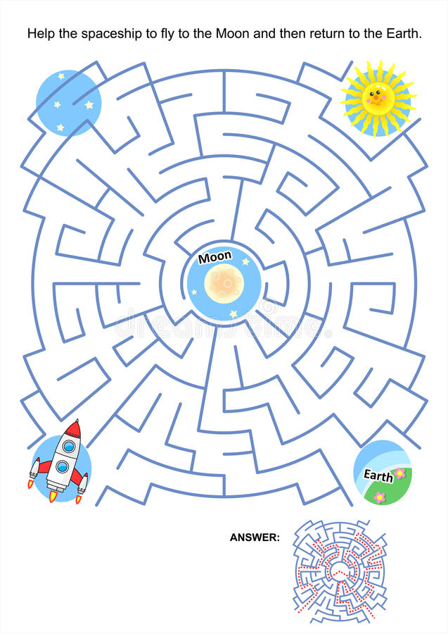 Maze game for kids - spaceship Moon flight royalty free illustration