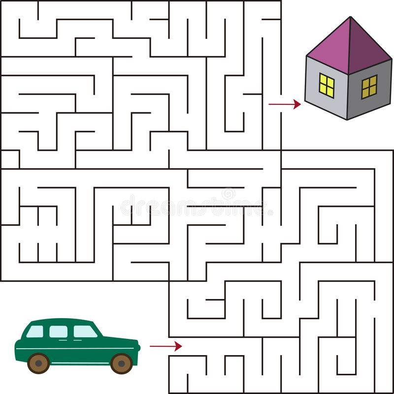 Educational A Mathematical Game.Maze Game For Kids . Vector Template ...