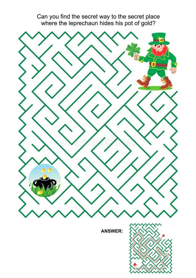 Maze game - leprechaun and pot of gold stock illustration