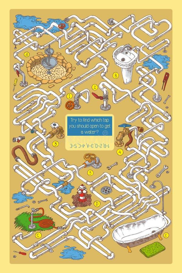 Maze Game mit Rohren, Ventilen und Sanitärtechnik lizenzfreie stockbilder