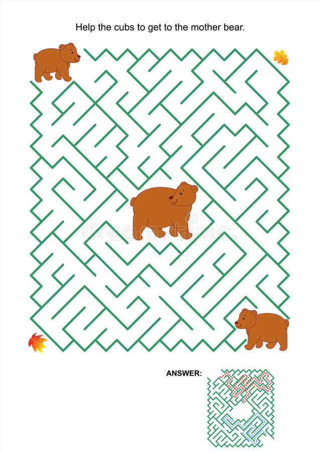 Maze game - mother bear and her cubs. Maze game or activity page: Help the cubs to get to the mother bear. Answer included royalty free illustration