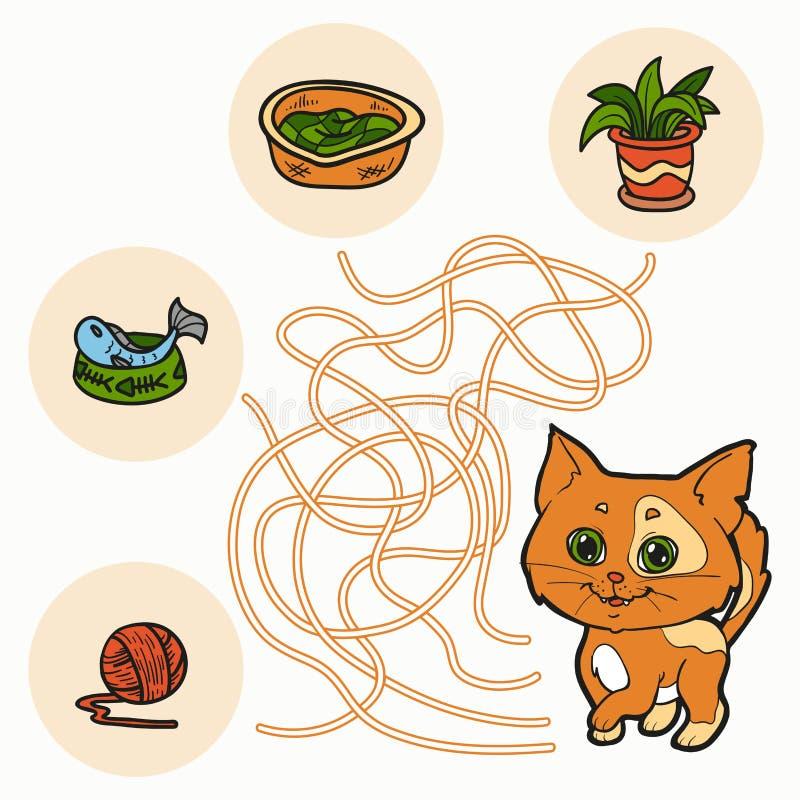 Maze Game pour des enfants (chat) illustration libre de droits