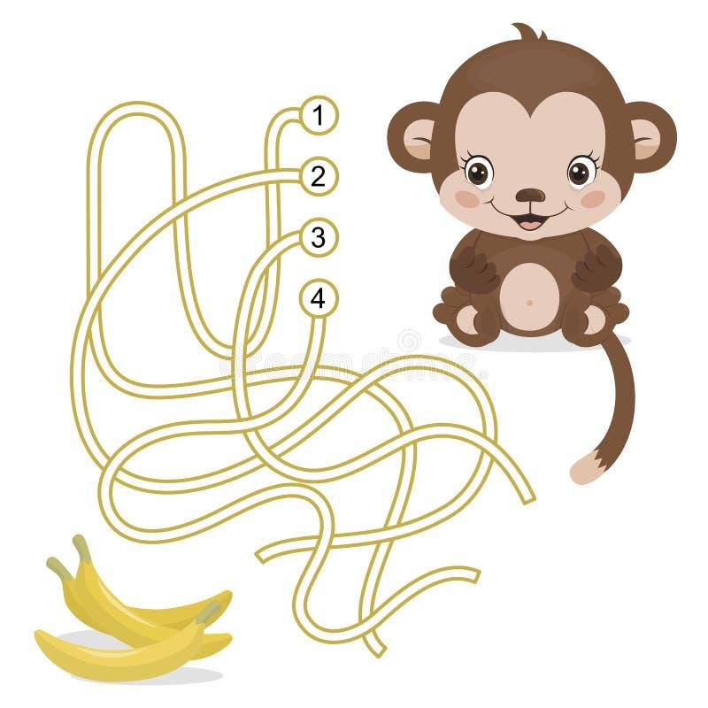 Maze Game pour les enfants préscolaires avec le singe illustration libre de droits
