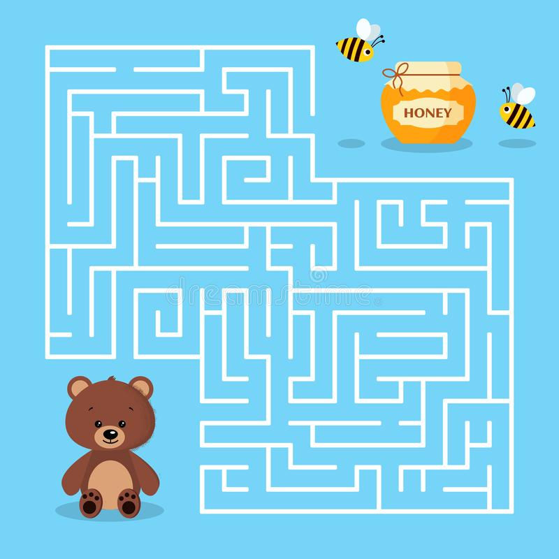 Maze game for the preschool children with a labyrinth Cartoon cute brown bear jar of honey and bees. Bear is looking for honey vector illustration